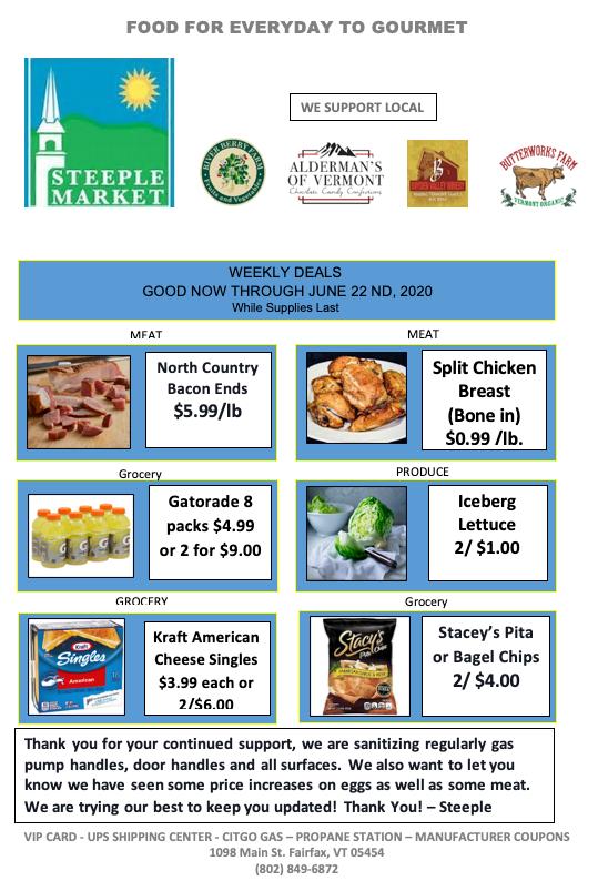 weekly deals steeple market vermont