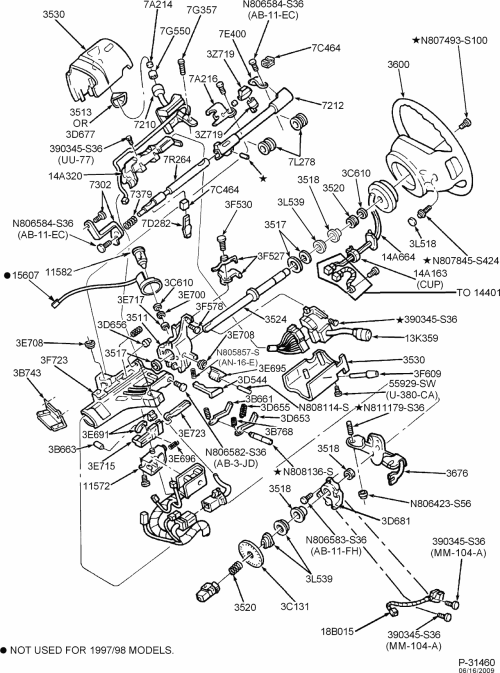 small resolution of exploded view for the 1999 ford f250 tilt steering 1999 chevy suburban parts diagram chevy steering column wiring diagram