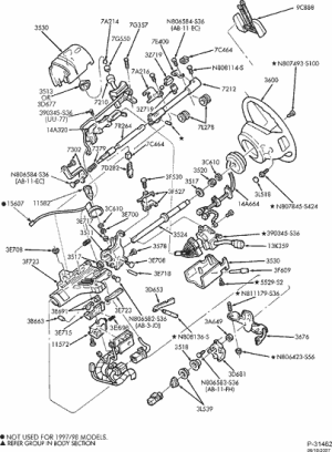 exploded view for the 1999 Ford F250 Nontilt | Steering Column Services