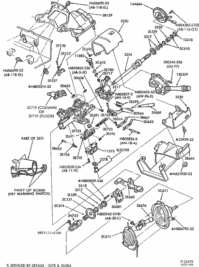 1990 Ford f250 steering column diagram