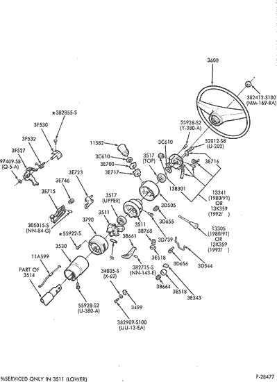gm truck wiring diagrams single sign on flow diagram exploded view for the 1991 ford f 150 tilt | steering column services