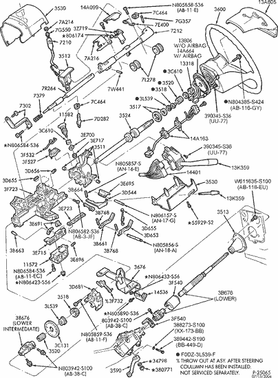 1984 toyota truck wiring diagram anterior and posterior skeleton exploded view for the 1994 ford f 150 tilt | steering column services