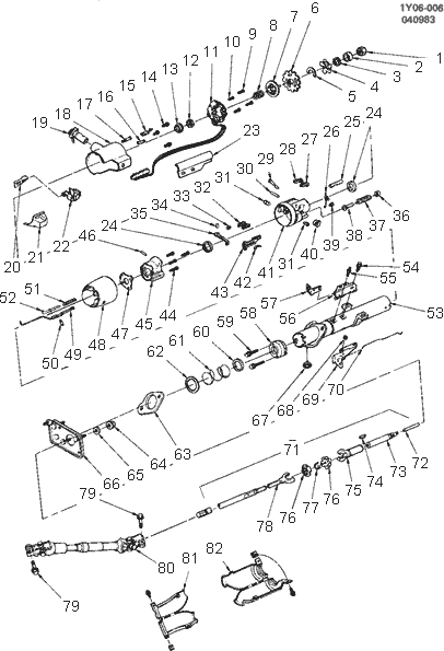 exploded view for the 1985 Chevrolet Corvette Telescopic
