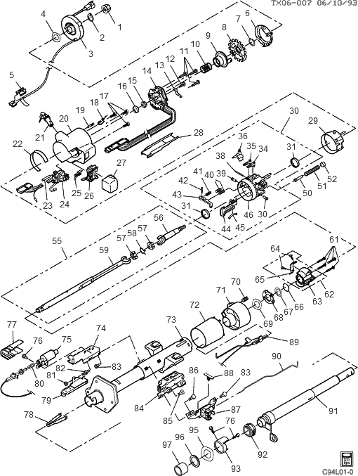 exploded view for the 1994 Chevrolet Astro Van Tilt