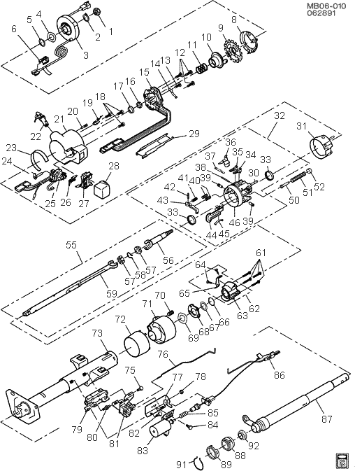 exploded view for the 1993 Chevrolet Caprice Tilt