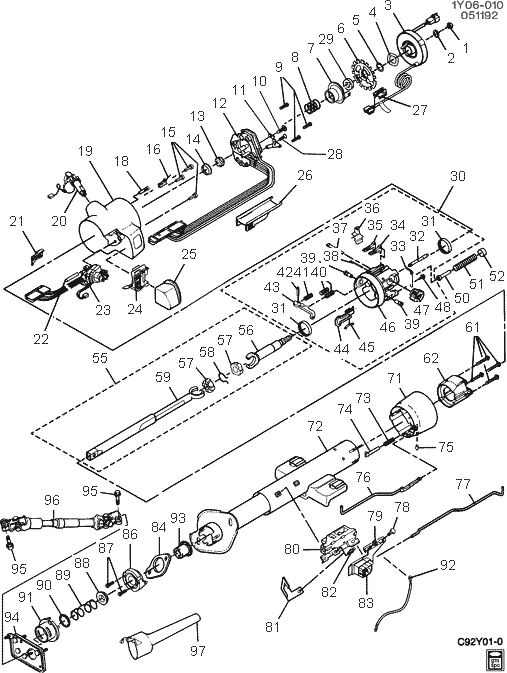 exploded view for the 1990 Chevrolet Corvette Tilt