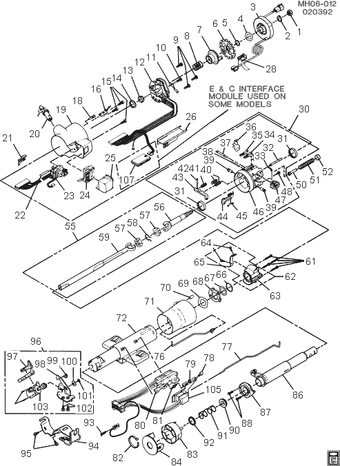 exploded view for the 1995 Chevrolet Caprice Tilt
