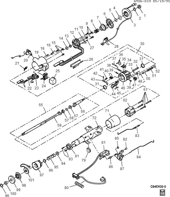 exploded view for the 1994 Cadillac Eldorado Non-Tilt