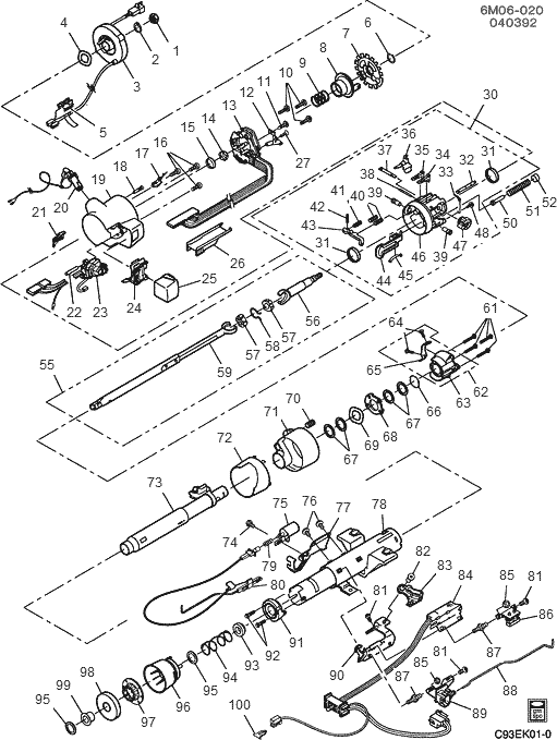 exploded view for the 1995 Cadillac Deville Tilt