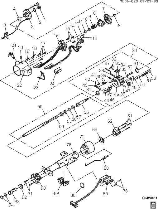 exploded view for the 1997 Chevrolet Monte Carlo Tilt