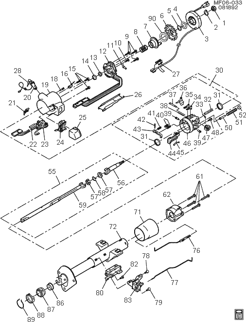 exploded view for the 1992 Chevrolet Camaro Tilt