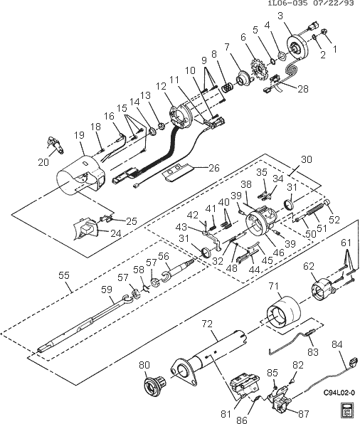 exploded view for the 1993 Chevrolet Corsica Tilt