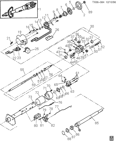 steering column exploded views for ford, gm, dodge