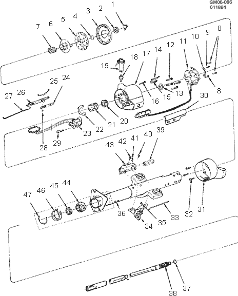 exploded view for the 1984 Chevrolet El Camino Non-Tilt