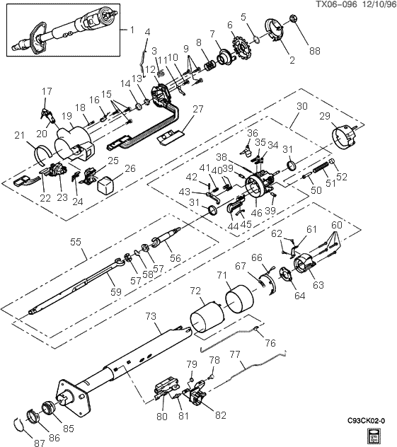 exploded view for the 1993 Chevrolet Astro Van Tilt