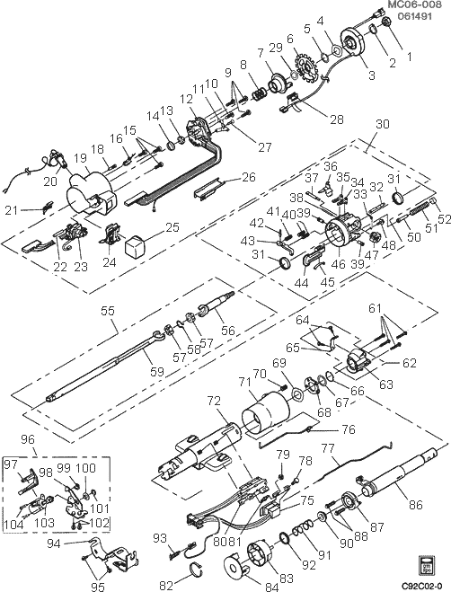 exploded view for the 1984 Chevrolet Caprice Tilt