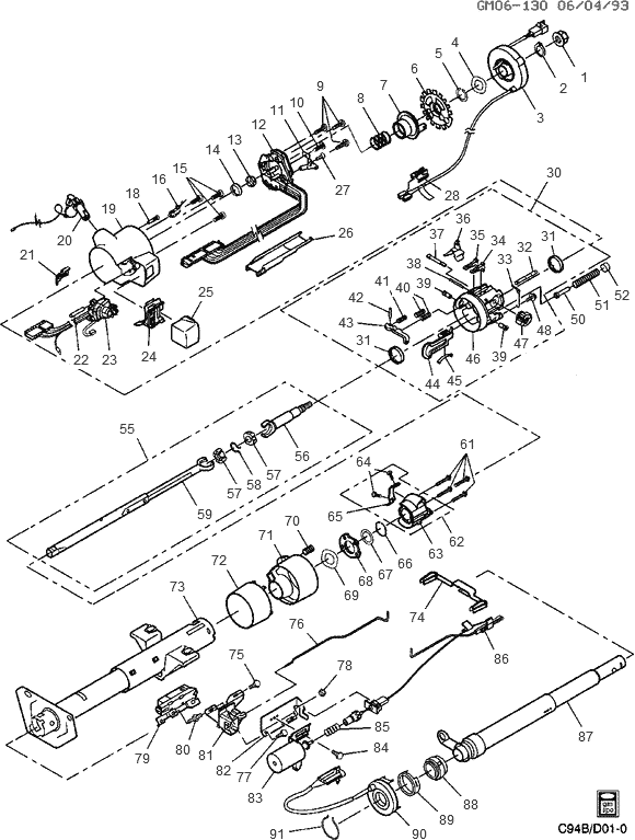 exploded view for the 1995 Buick Roadmaster Tilt