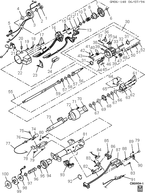 exploded view for the 1995 Chevrolet Lumina Tilt-Column