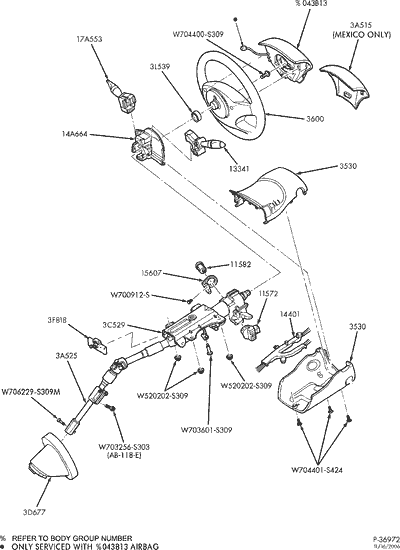 Ford Steering Column Diagram Exploded View For The