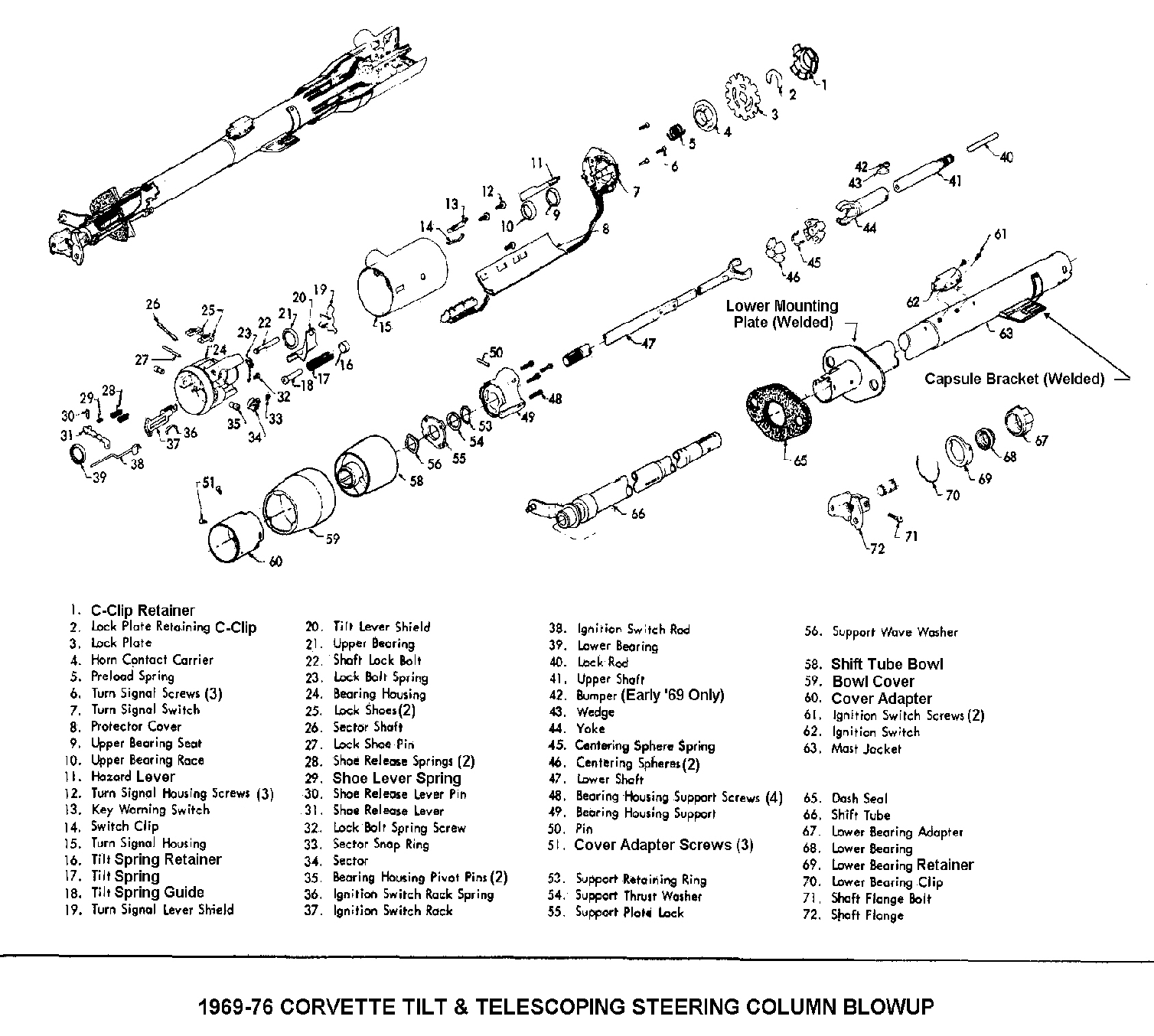 Exploded View For The Chevrolet Corvette Telescopic
