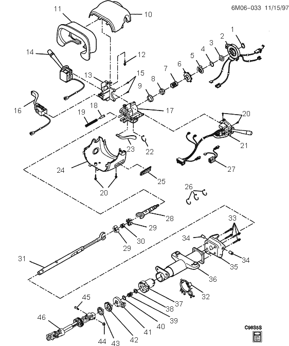 exploded view for the 2002 Cadillac Deville Tilt