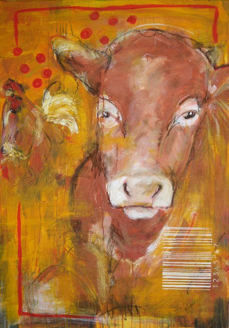 Kalb mit Hahn, Acrylbild auf Leinwand von Stefanie Rogge