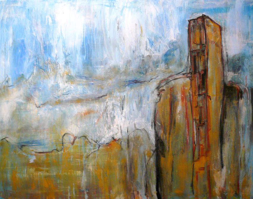 Klippen, abstrakte Malerei auf Leinwand, 180 x 160 cm