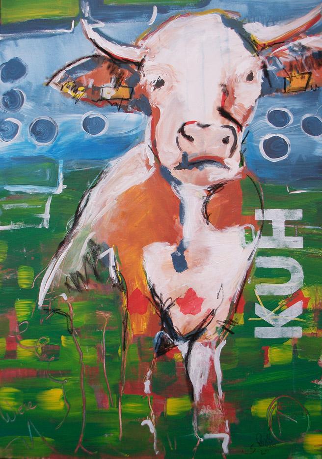 Kunstdruck kuh 1 aus der serie k he codiert abstrakte - Kuh bilder auf leinwand ...