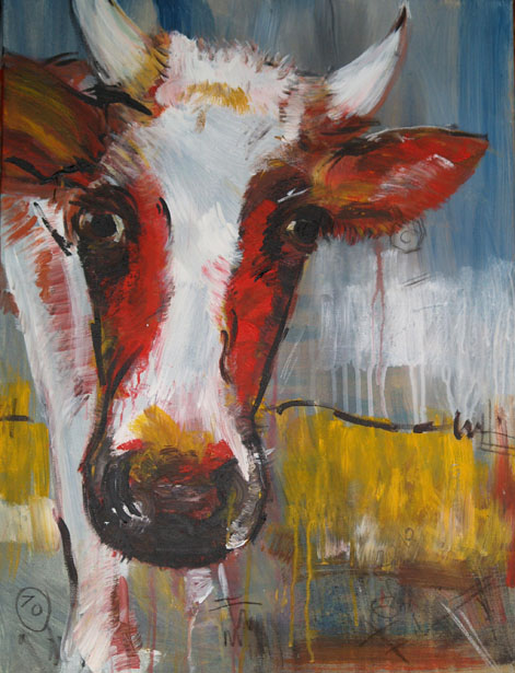 Expressionismus, moderne Malerei, Motiv Kuh 10