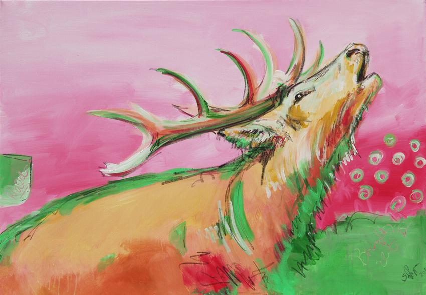 Expressive Malerei Brunftzeit III, aus der Serie HIRSCH IN PINK