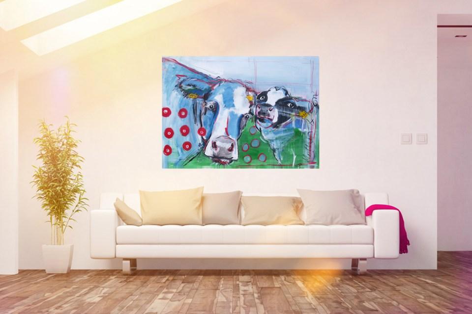 Kunstatelier Stefanie Rogge: kuh bilder auf leinwand, expressiv gemalt auf großformatiger Leinwand