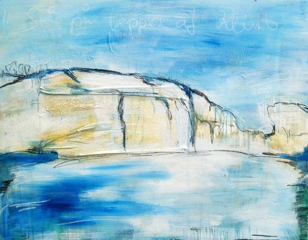 Abstrakte Malerei, Meer, Klippe, Küste