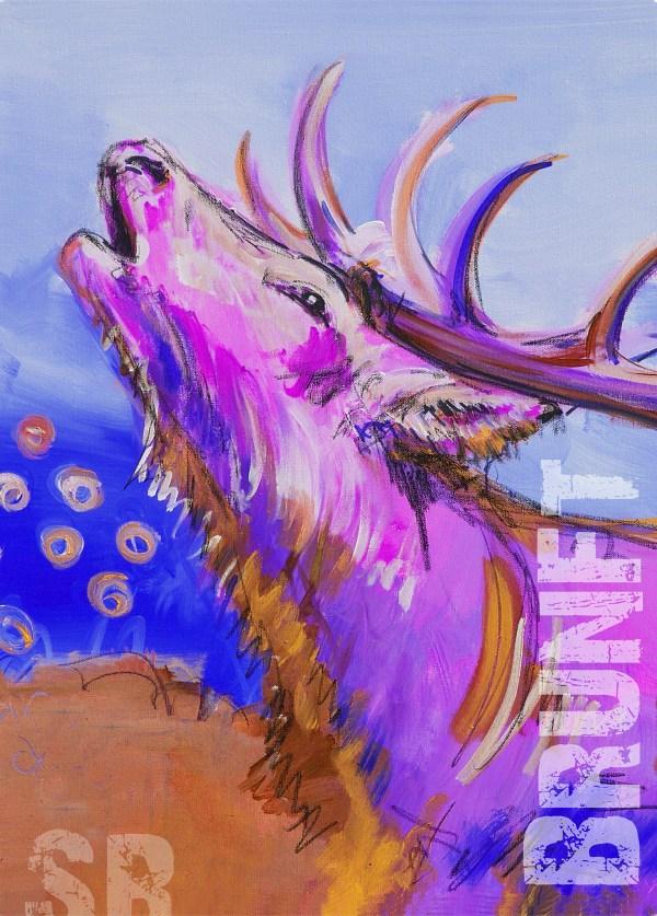 EUR 95, Kunstdruck auf Leinwand, expressionistischer Hirsch