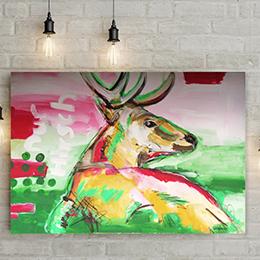 """Kunstdruck """"Hirsch in Pink"""""""