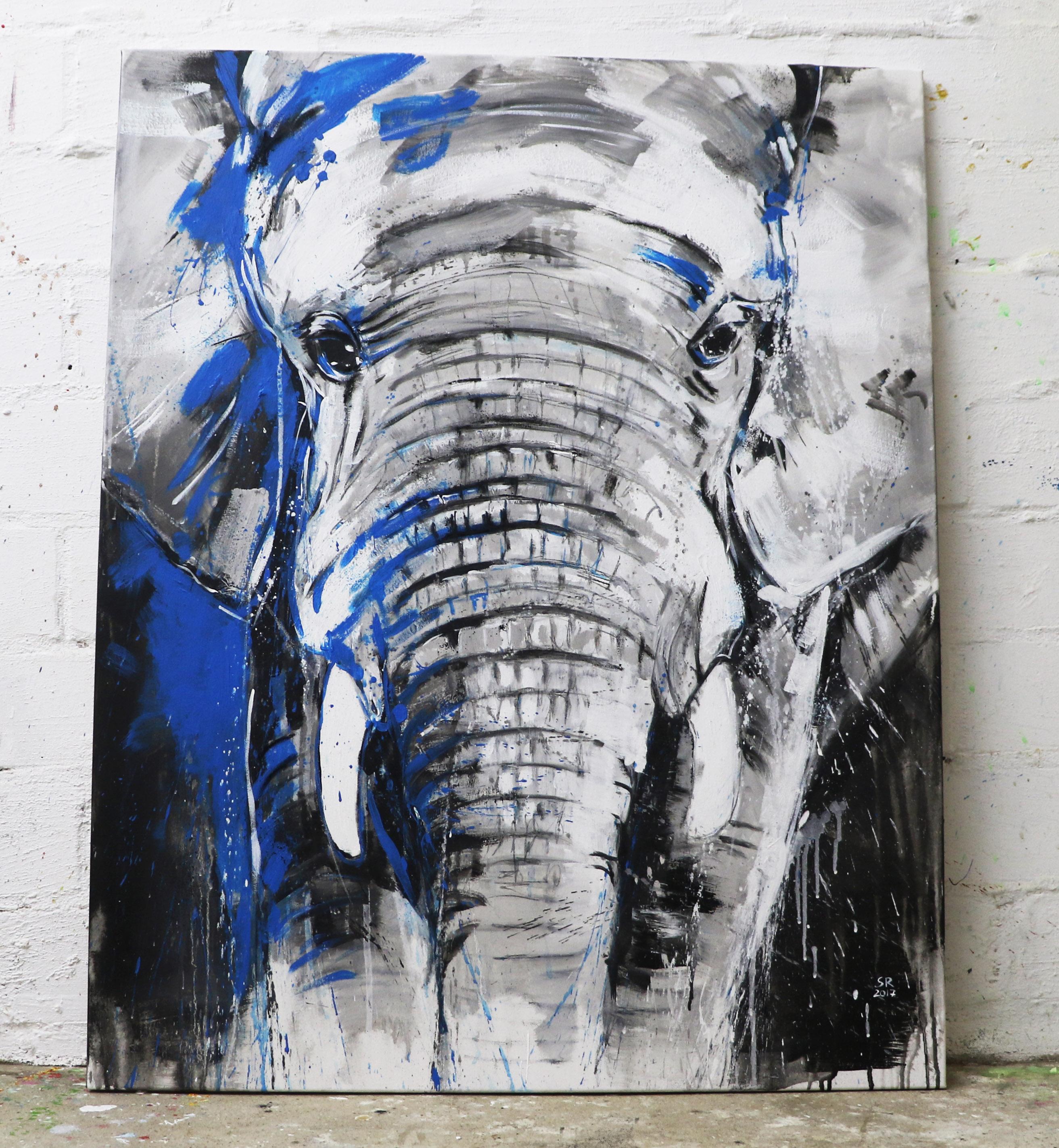 Kunstdruck elefant one of the big five xl atelier stefanie rogge - Leinwand vorlagen ...