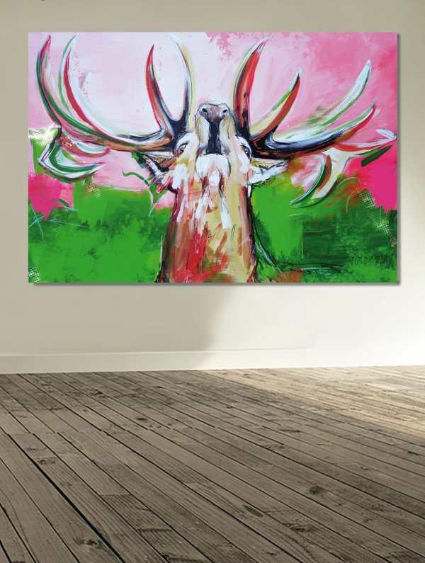 Kunstdruck auf Leinwand, Bild Hirsch modern