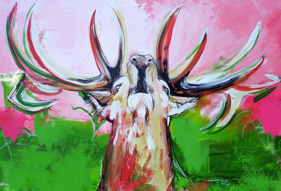 moderne Malerei von Künstlerin Stefanie, Werkserie HIRSCH IN PINK