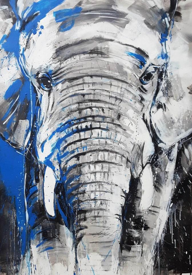 Kunstdruck 70 x 100 cm, Elefant gemalt, expressive Malerei, von Stefanie Rogge