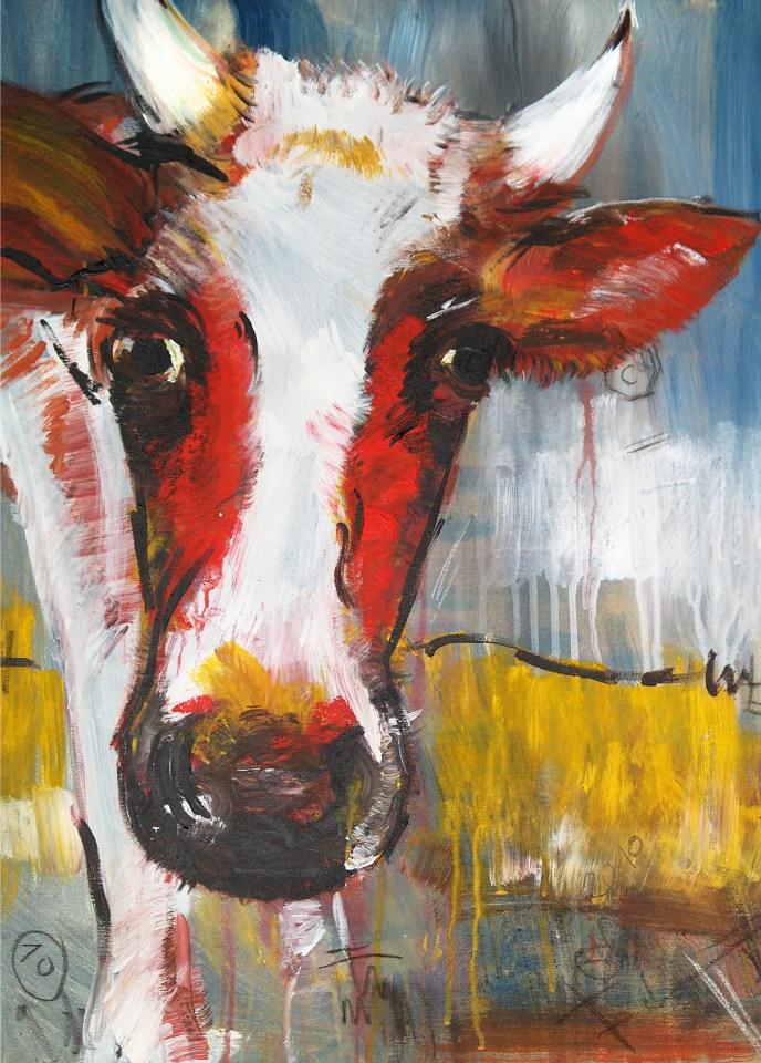 Kunstdruck Kuh, zeitgenössische Malerei