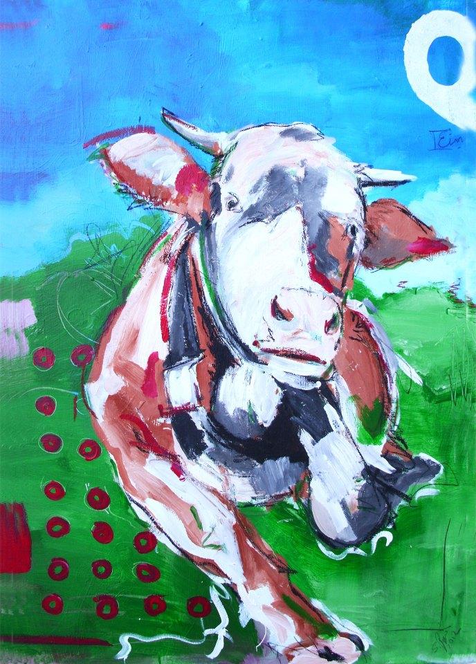 Kuh gemalt als Leinwanddruck