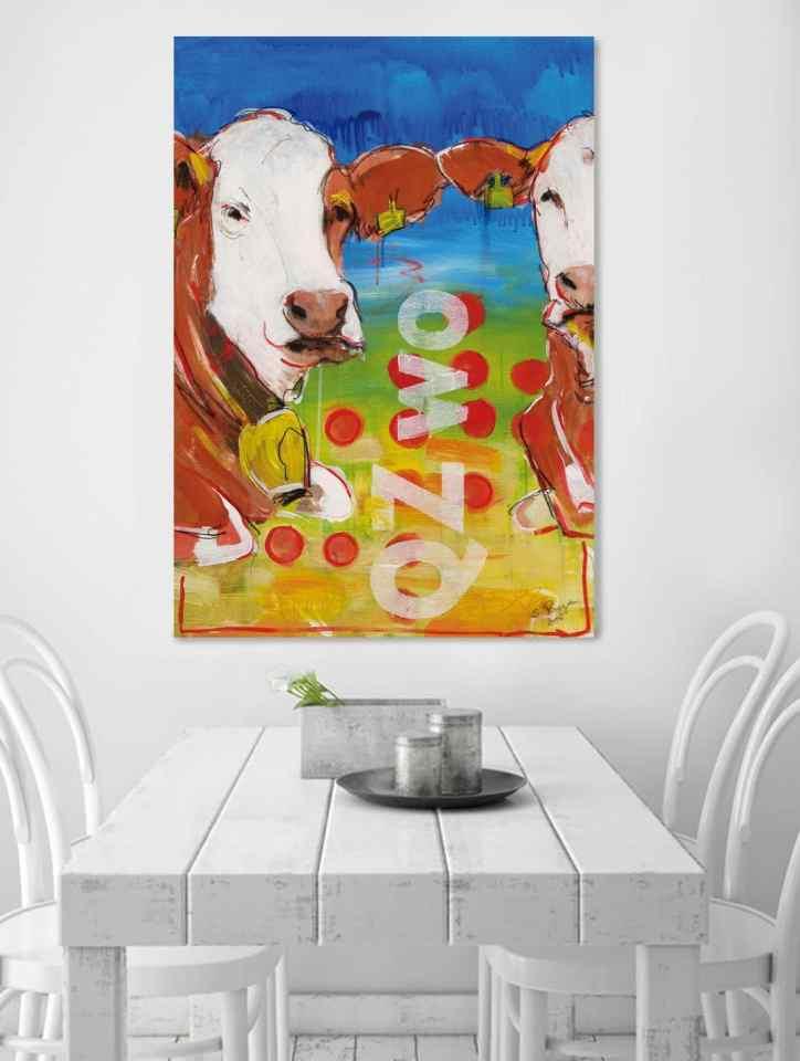 Kuh auf Leinwand, Küchenbild