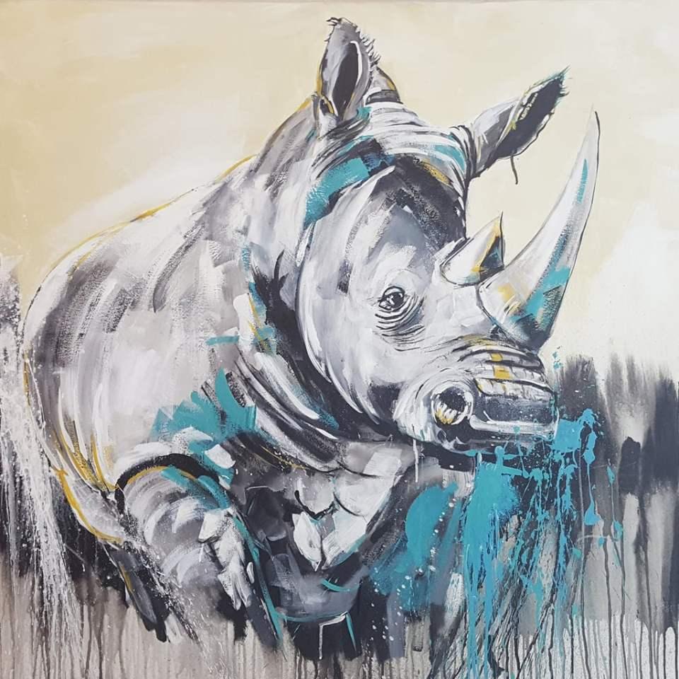 Original Malerei Rhino #2, 100 x 100 cm Leinwand von Stefanie Rogge