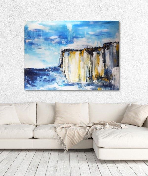Stefanie Rogge: großes Gemälde auf Leinwand, Klippen, im Raum