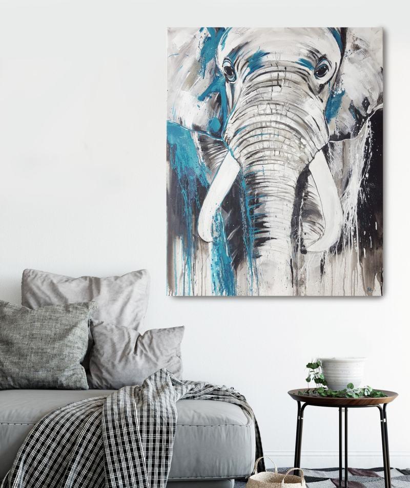 Kunstdruck Elefant Kopf