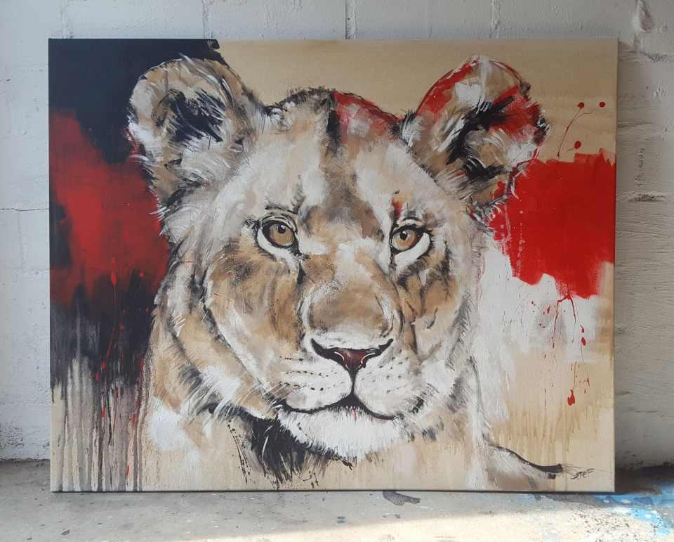 Löwin, zeitgenösche Malerei