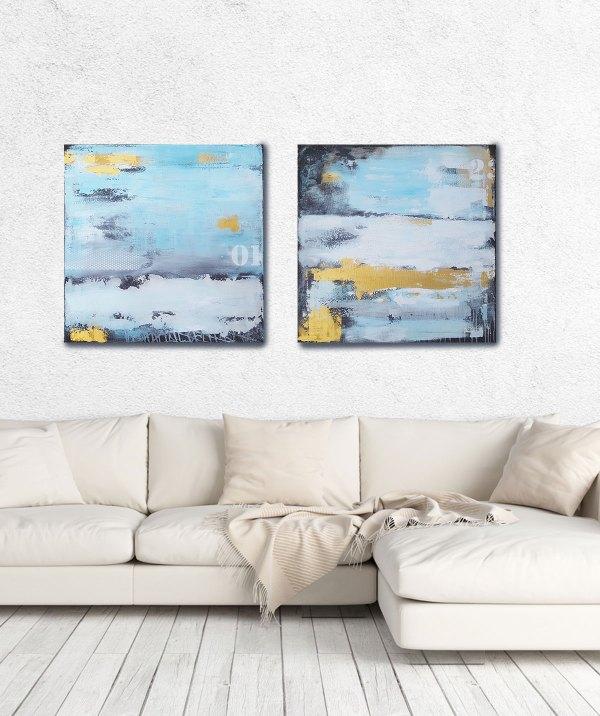 Diptychon moderne abstrakte Malerei