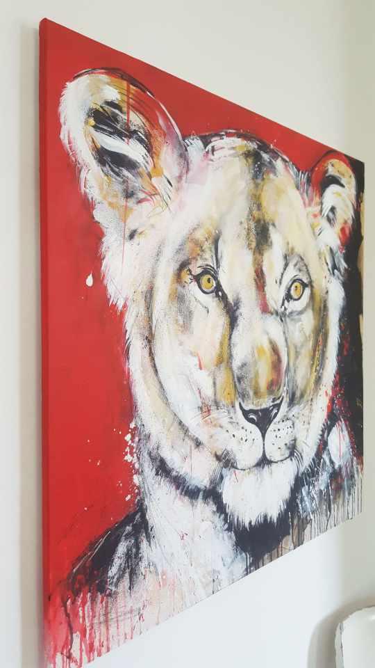 Wandbild Löwe, Zeitgenössische Malerei Bild Löwin