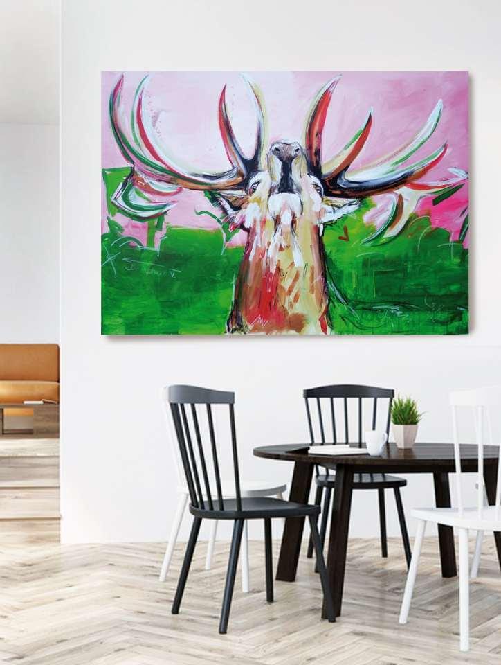 Hirsch Bild auf Leinwand, Wandbild Hirsch modern