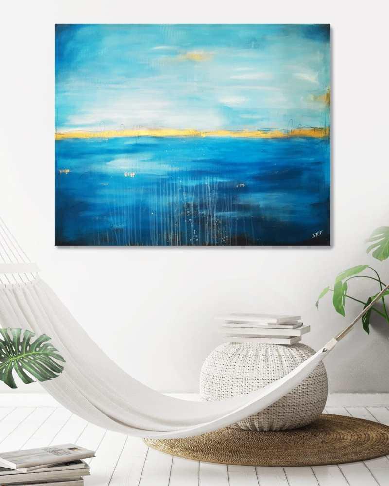 Abstraktes Acylbild aus dem Atelier von Stefanie Rogge, abstraktes Bild in Blau und Gold, abstrakte moderne Gemälde im Kunstshop