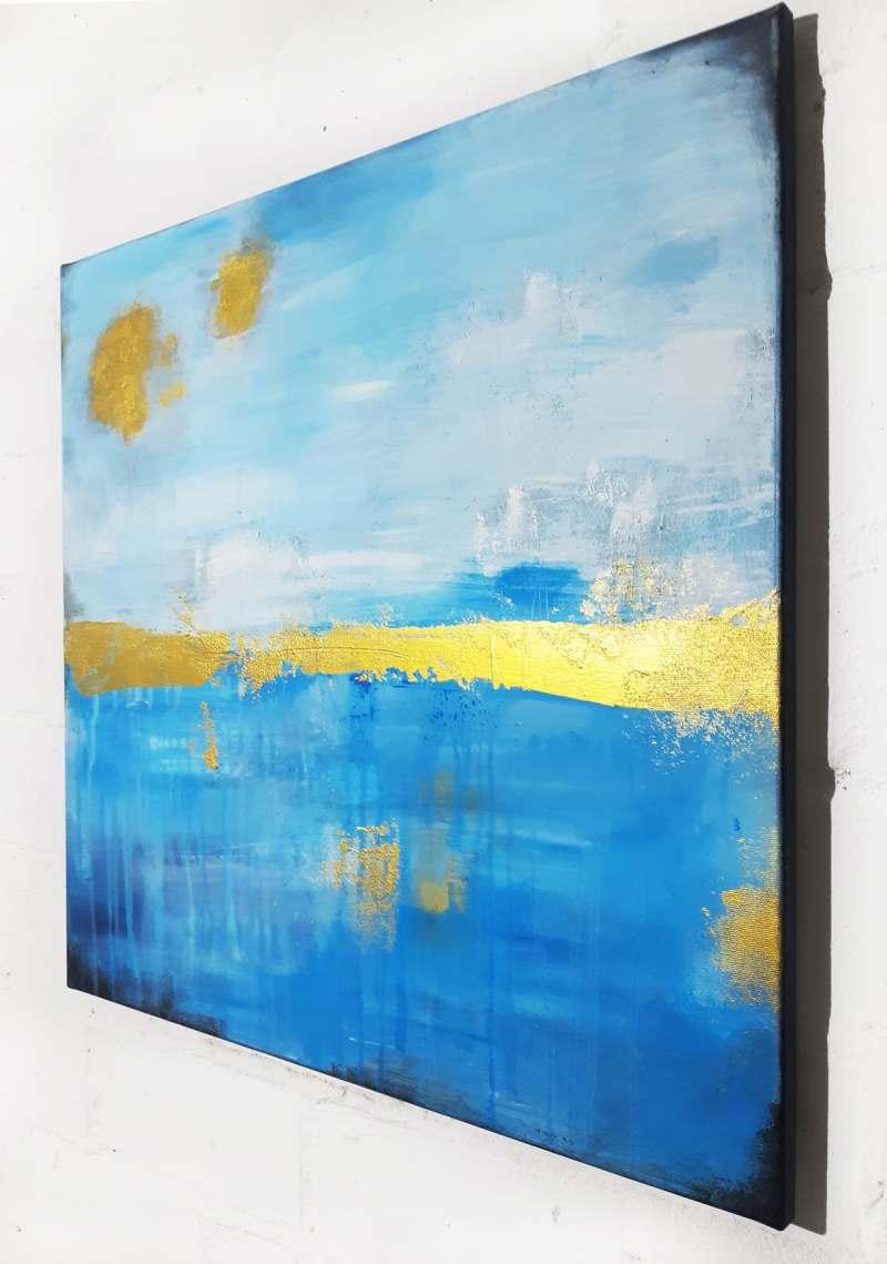 abstrakte Bilder Meer, Küstenlicht von Stefanie Rogge, abstrakte Malerei in Blau und Gold
